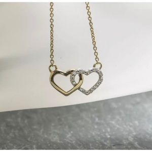 Jewelry - Gld plated s.s and diam heart necklace